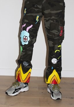 Painted-up Flame Camo Cargos
