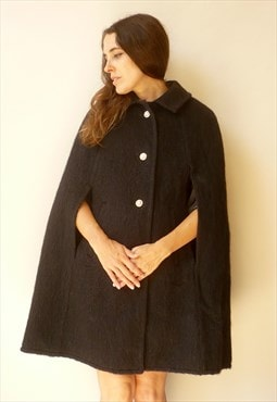 70s Vintage Austrian Black Wool Cape With Rose Print Lining