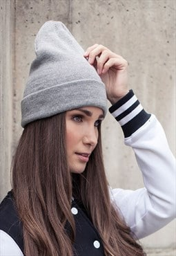 Heather Grey Heavy Knit Beanie