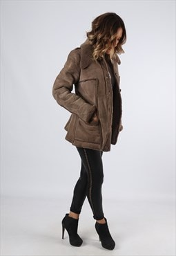 Sheepskin Suede Leather Shearling Short Coat UK 12 (A9BF)