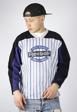 Vintage Mens REEBOK Stripes Sweatshirt Big Logo