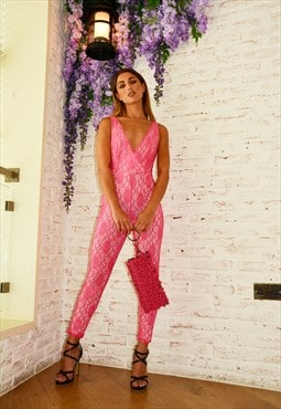 Hot Pink Lace Plunge Wrap Jumpsuit