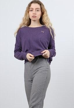 Puma Small Purple Embroidered Logo Sweatshirt