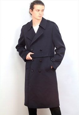1980's vintage navy wool 3/4 long length trench coat