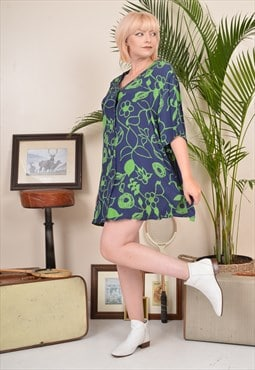 Vintage 90s Patterned Mini Shirt Dress Green / Blue