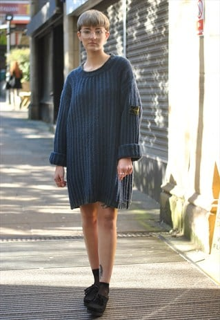 VINTAGE 90S STONE ISLAND OVERSIZED KNITTED JUMPER DRESS