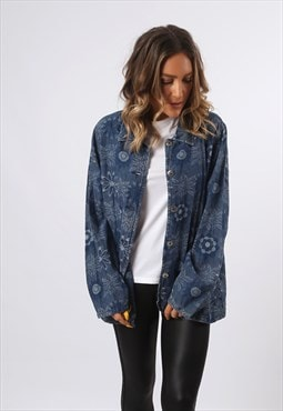 Denim Jacket Patterned Oversized LIGHTWEIGHT UK 14 (D73S)