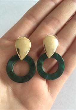 Womens gold green acrylic earrings statement dangly earrings