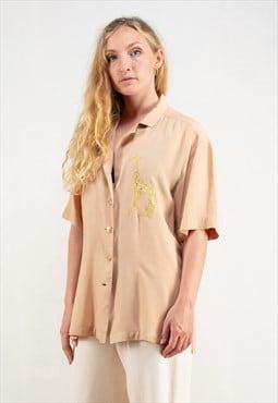 Vintage 80's Beige Summer Shirt
