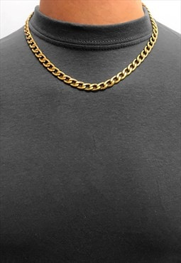 "8mm 30"" Gold Plated Stainless Steel Curb Necklace Chain"