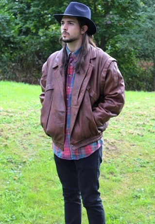 VINTAGE 80S LEATHER BOMBER LINED JACKET - LARGE / XL
