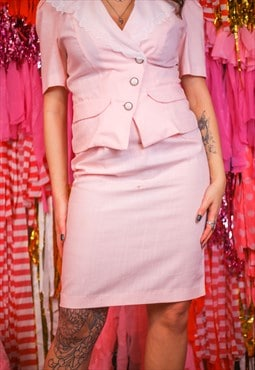 Vintage 80's pink skirt suit 2 piece set