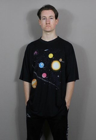 Vintage Single Stitch Solar System T-Shirt in Black