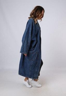 Vintage Denim Jacket Oversized Long UK 20 XXXL Blue (M3L)