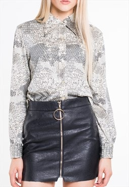 VINTAGE Grey Flower Patterned Long Sleeve Retro Shirt