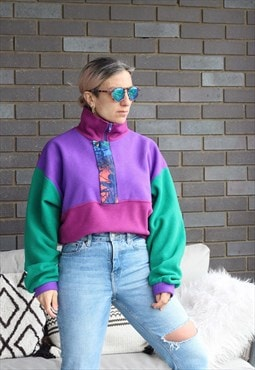 Vintage 1990s colour block quarter zip oversized fleece