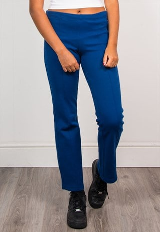 90'S VINTAGE ADIDAS BLUE STRETCH TRACKSUIT TROUSERS BOTTOMS