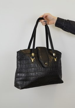 Vintage Mock Croc Shopper Black