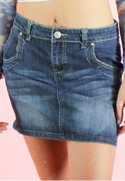 Vintage 90s Denim Skirt Mini Y2K Dark Blue Washed Out