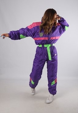 Vintage Full Ski Suit Snow Sports Neon L 14  (K94V)