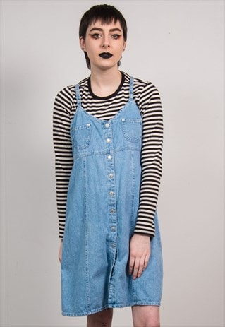 VINTAGE 90'S STRAPPY BLUE DENIM DRESS
