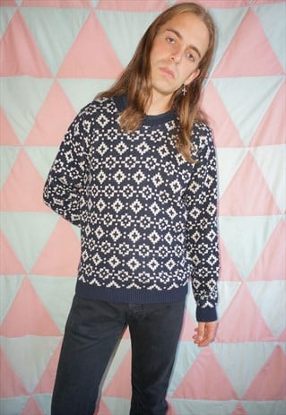 Vintage 60s Blue / White Abstract Pattern Christmas Jumper