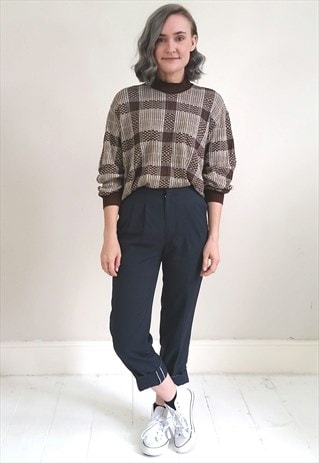 VINTAGE 80'S BROWN CHECKED LIGHTWEIGHT JUMPER