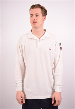 Vintage Napapijri Polo Shirt Long Sleeve White