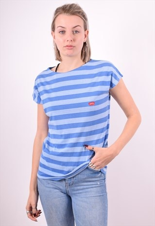 LEVI'S WOMENS VINTAGE T-SHIRT TOP MEDIUM BLUE 90'S