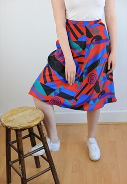Womens Vintage 80s skirt high waist red abstract patterned
