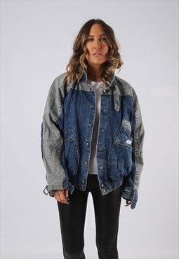 Denim Jacket 90's Bomber GUESS Oversized Lined UK 14 (BJDM)