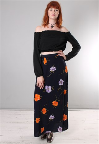 VINTAGE 80S FLORAL PATTERNED LONG SKIRT