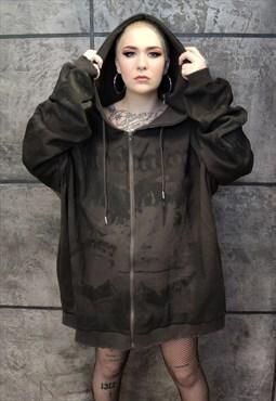 Distressed Kawaii girl print hooded top Korean Manga hoodie