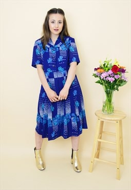 Vintage 70s navy blue floral pleated office dress