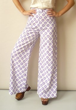 1970s Vintage High Waisted Retro Daisy Print Flares Trousers