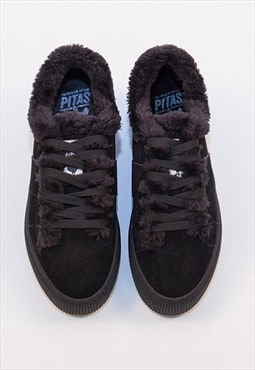 Walk In Pitas Black Suede and Faux Fur Trainers