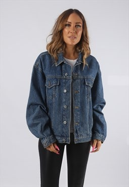 Vintage Denim Jacket Oversized Fitted UK 16 XL  (HDQ)