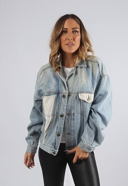 Vintage Denim Jacket Oversized Fitted UK 14 L (X5U)