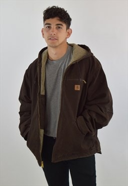 Vintage 90s Brown Carhartt Fleece Lined Work Parka Jacket