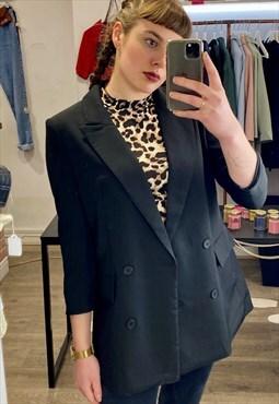 Vintage Inspired Blazer in Black with 3/4 Sleeve