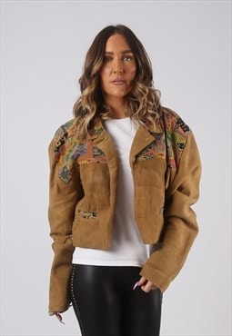 Suede Leather Embroidered Jacket Vintage UK 14 (GWCZ)