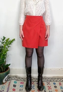Vintage 90s coral orange wrap skirt