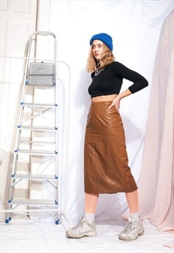 Vintage leather skirt 80s high-waisted camel pencil skirt
