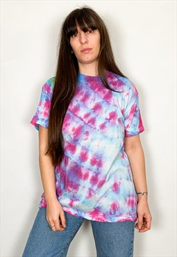 Vintage Tie Dye Purple & Blue Tee