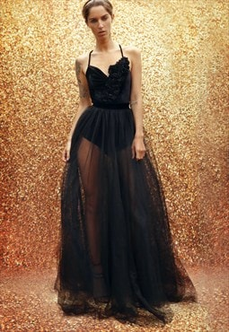 Long tulle skirt with velvet top