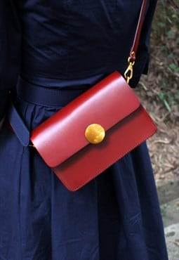 Small Leather Crossbody bag in Red