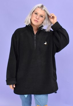 G&G Unisex Black 1/4 Zip Goose Fleece