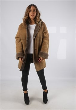Vintage Sheepskin Suede Shearling Coat Short Hooded 14 (JH4G