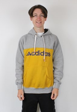 Vintage Adidas Hoodie in Grey and Yellow with Printed Spell