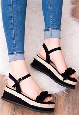 Platform Wedge Heel Sandals in Black Suede Style - IZABELLA